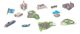 drawings of landmarks lesvos